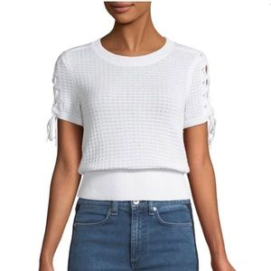 Rag & Bone Iona Crew Neck Lace-up Knit Top - Large